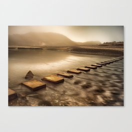 Stepping stones with oil painting effect Canvas Print
