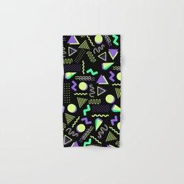 Geometrical retro lime green neon purple 80's abstract pattern Hand & Bath Towel