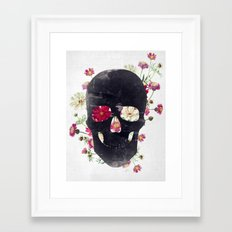 Skull Grunge Flower Framed Art Print