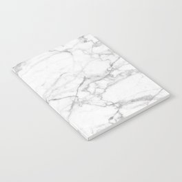White & Gray Marble Texture Print Notebook