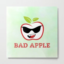 Bad Apple in Black Sunglasses with Attitude Metal Print