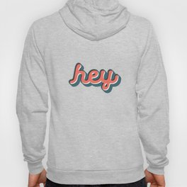 Hey Blue & Red Typography Print Funny Poster Letterpress Style Wall Decor Home Decor Hoody
