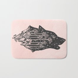 Adventure Wolf - Nature Mountains Wolves Howling Design Black on Pale Pink Bath Mat