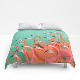 Fresco of the flamingoes. Comforters