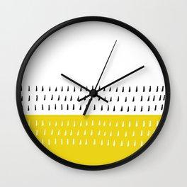 Black & white rain on yellow Wall Clock