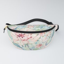 Cactus Rose Heart on Pink Fanny Pack