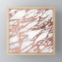 Rose Gold Faux Foil and White Marble Pattern Framed Mini Art Print