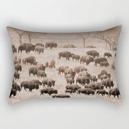 Buffalo Herd in Sepia Rectangular Pillow