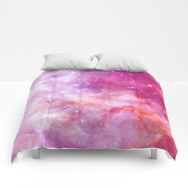 Blush Pink and Ultra Violet Celestial Galaxy Comforters
