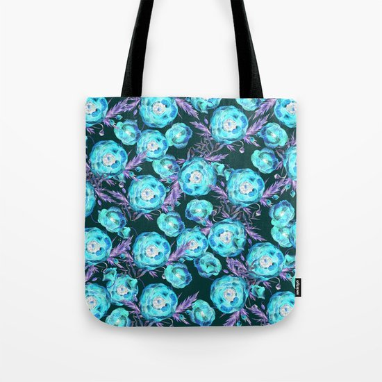 Abstract Poppy Pattern Blue And Black Tote Bag