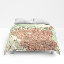 Vintage Map of Corpus Christi Texas (1951) Comforters