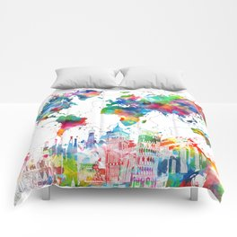 world map watercolor collage Comforters