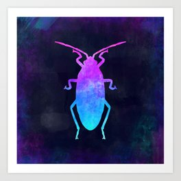 COCKROACH IN SPACE // Animal Graphic Art // Watercolor Canvas Painting // Modern Minimal Cute Art Print