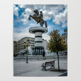 Statue of Alexander the Great at Macedonian Square - Skopje Poster