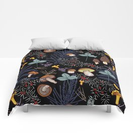 dark wild forest mushrooms Comforters