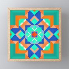 Geometric Tribal Mandala Inspired Modern Trendy Vibrant (Mint Green, Cobalt Blue, Orange) Framed Mini Art Print