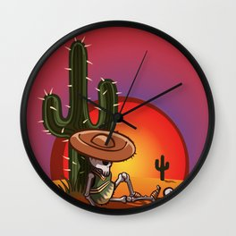 Cactus and skeleton in Sunset Wall Clock