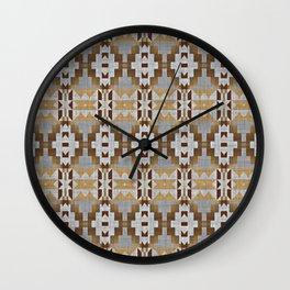 Brown Taupe Tan Gray Native American Indian Mosaic Pattern Wall Clock