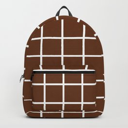 GRID DESIGN (WHITE-BROWN) Backpack