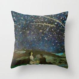 Shooting Stars, Summer Night by the Sea, Watch Hill, Rhode Island landscape by Franz Von Stuck Throw Pillow