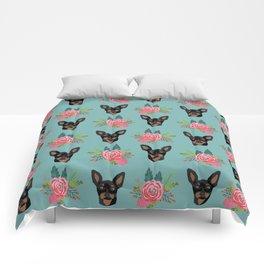 Min Pin miniature doberman pinscher dog breed dog faces cute floral dog pattern Comforters
