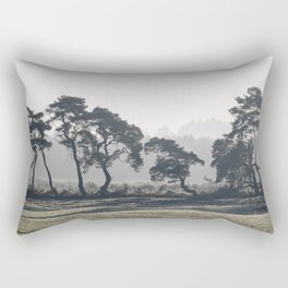Trees lining a frosty field on a cold morning. Norfolk, UK. Rectangular Pillow