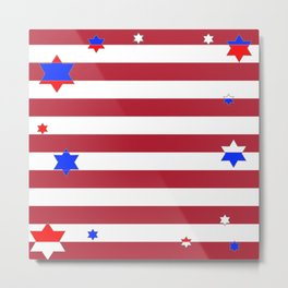 PATRIOTIC JULY 4TH  RED STARS DECORATIVE DESIGN Metal Print