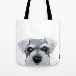 Schnauzer Grey&white, Dog illustration original painting print Tote Bag