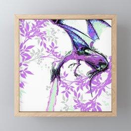 DRAGON AND PURPLE LEAVES Framed Mini Art Print