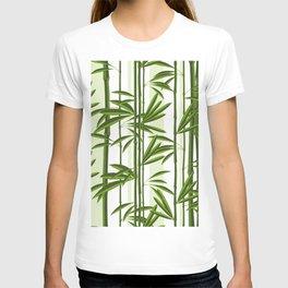 Green bamboo tree shoots pattern T-shirt