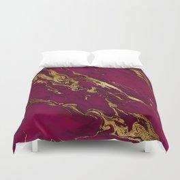 Marsala Marble and Gold Foil Duvet Cover