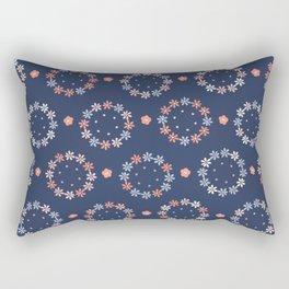 Hand drawn coral blue spring daisy flower wreath Rectangular Pillow