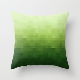 Gradient Pixel Green Throw Pillow