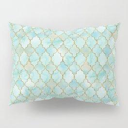 Luxury Aqua and Gold oriental pattern Pillow Sham