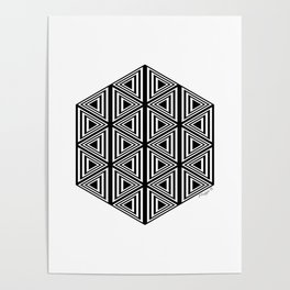 #2 Geometric Triangles Black And White Poster
