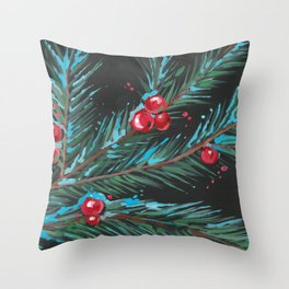 Christmas Tree Branch, Snowy Winter Berries, Contemporary Art Throw Pillow