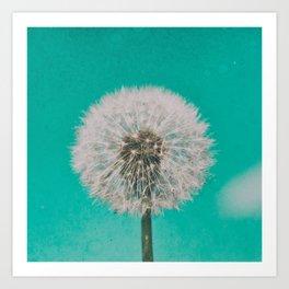 Green Blue Dandelion Art Print