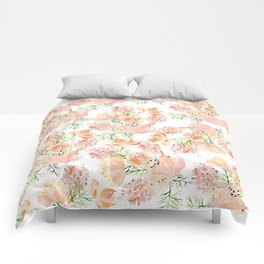 Elegant coral pink hand painted watercolor floral Comforters
