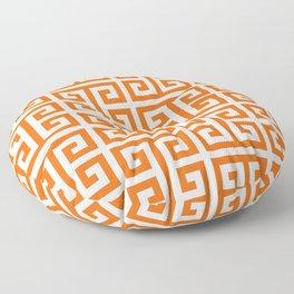 Orange and White Greek Key Pattern Floor Pillow