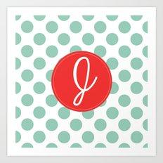 Monogram Initial J Polka Dot Art Print