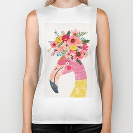 Pink flamingo with flowers on head Biker Tank