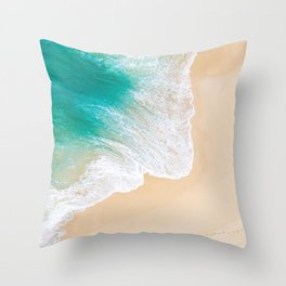 Sand Beach - Waves - Drone View Photography Throw Pillow