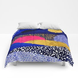 Terrazzo galaxy blue night yellow gold pink Comforters