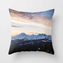 Three Sisters Wilderness Colorful Sunset Throw Pillow