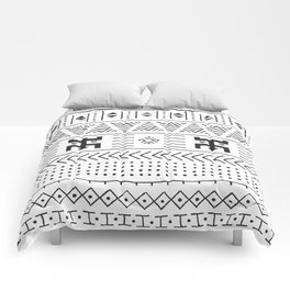 Black and white tribal ethnic pattern with geometric elements, traditional African mud cloth, tribal Comforters