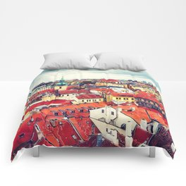 Prague panorame city Comforters