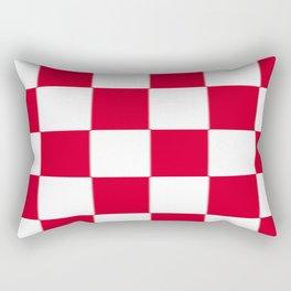 Red and white zig zag checkered artwork Rectangular Pillow
