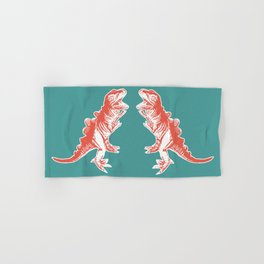 Dino Pop Art - T-Rex - Teal & Dark Orange Hand & Bath Towel