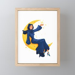 Lady on the Moon Framed Mini Art Print