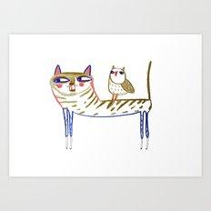 cat and owl, cat art, cat print, cat illustration, cats, cat, owl print, Art Print